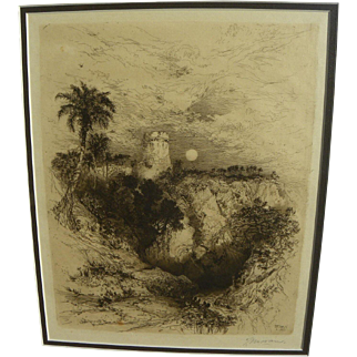 "THOMAS MORAN (1837-1926) pencil signed 1883 etching ""A Tower of Cortes"" by the famous American artist"
