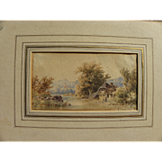 FRANCOIS DIDAY (1802-1877) fine watercolor painting house in a landscape by noted Swiss artist