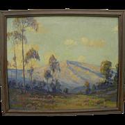 JAMES MERRIAM (1880-1951) California plein air art oil painting of mountains and eucalyptus