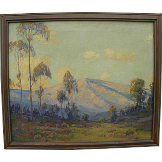 JAMES MERRIAM (1880-1951) California plein air art oil painting of mountains and eucalyptus