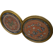 "Chinese antique ""forbidden stitch"" PAIR roundel embroidery works very fine detail"