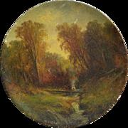 WESLEY WEBBER (1839-1914) Hudson River style landscape round oil painting on papier mache