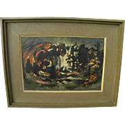 Korean abstract art 1960 painting signed