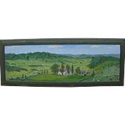 FRED E. ROBERTSON (1878-1953) impressive 1943 naive primitive landscape painting by brother of Grandma Moses