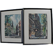"JOHN ""JACK"" McCANN (1925-2011) **pair** original watercolor paintings of New Orleans French Quarter by noted local artist"