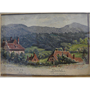 German signed 1904 watercolor landscape painting on postcard reverse side