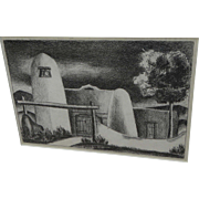 New Mexico art 1948 lithograph of adobe house signed J Hill