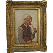 Italian signed 1879 genre painting of man smoking a pipe