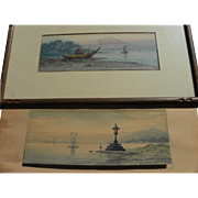 Vintage pre-war Japanese watercolor landscape paintings