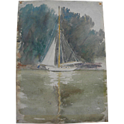 Vintage impressionist watercolor painting of a sailboat on calm waters