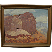 RALPH HOLMES (1876-1963) impressionist painting of Southwest arid landscape possibly Bryce Canyon Utah