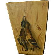Circa 1890 American antique oil painting of hanging ducks in trompe l'oeil style