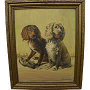 ELIZABETH DAVEY LOCHRIE (1890-1981) painting of mischievous dogs by noted Montana woman artist