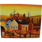 American naive primitive folk painting signed JONAS BRADFORD