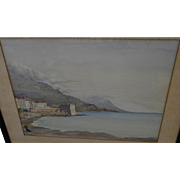 Cote d'Azur 1919 watercolor painting of coastline at Antibes by American artist