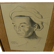 JADE FON  (1911-1983) fine portrait drawing of Asian man by noted California Style watercolor artist