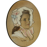 EUGEN SPIRO (1874-1972) fine pastel portrait of young girl in bonnet by noted German-Jewish artist