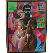 JON ONYE LOCKARD (1932-2015) impressive colorful figural painting by noted African-American artist
