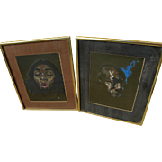 JON ONYE LOCKARD (1932-2015) two pastel portrait drawings by noted African-American artist