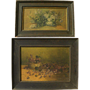 Circa 1900 PAIR American still life paintings signed L. F. Haftzger