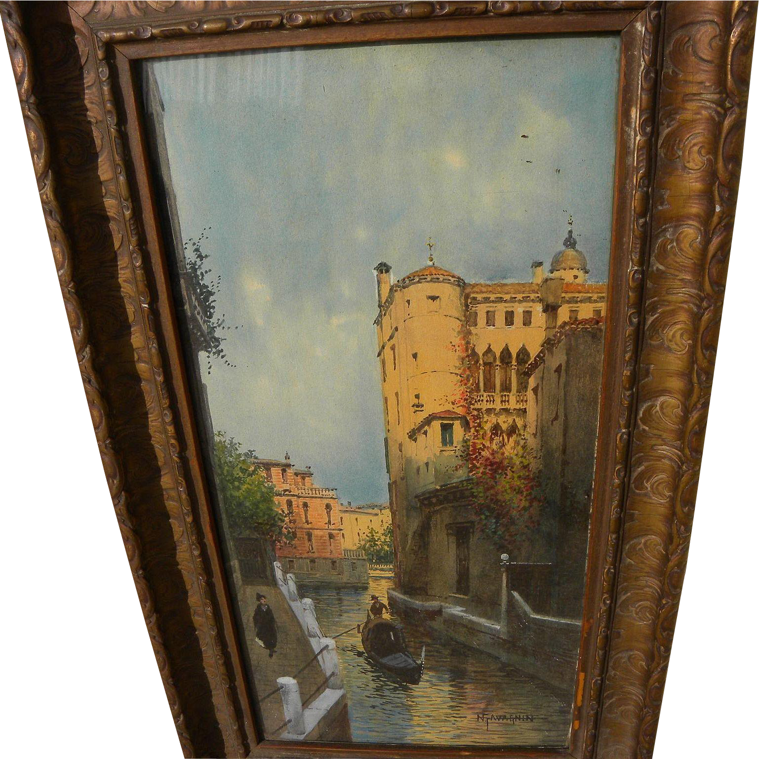 NATALE GAVAGNIN (1851-1923) Venice Italy late 19th century watercolor painting