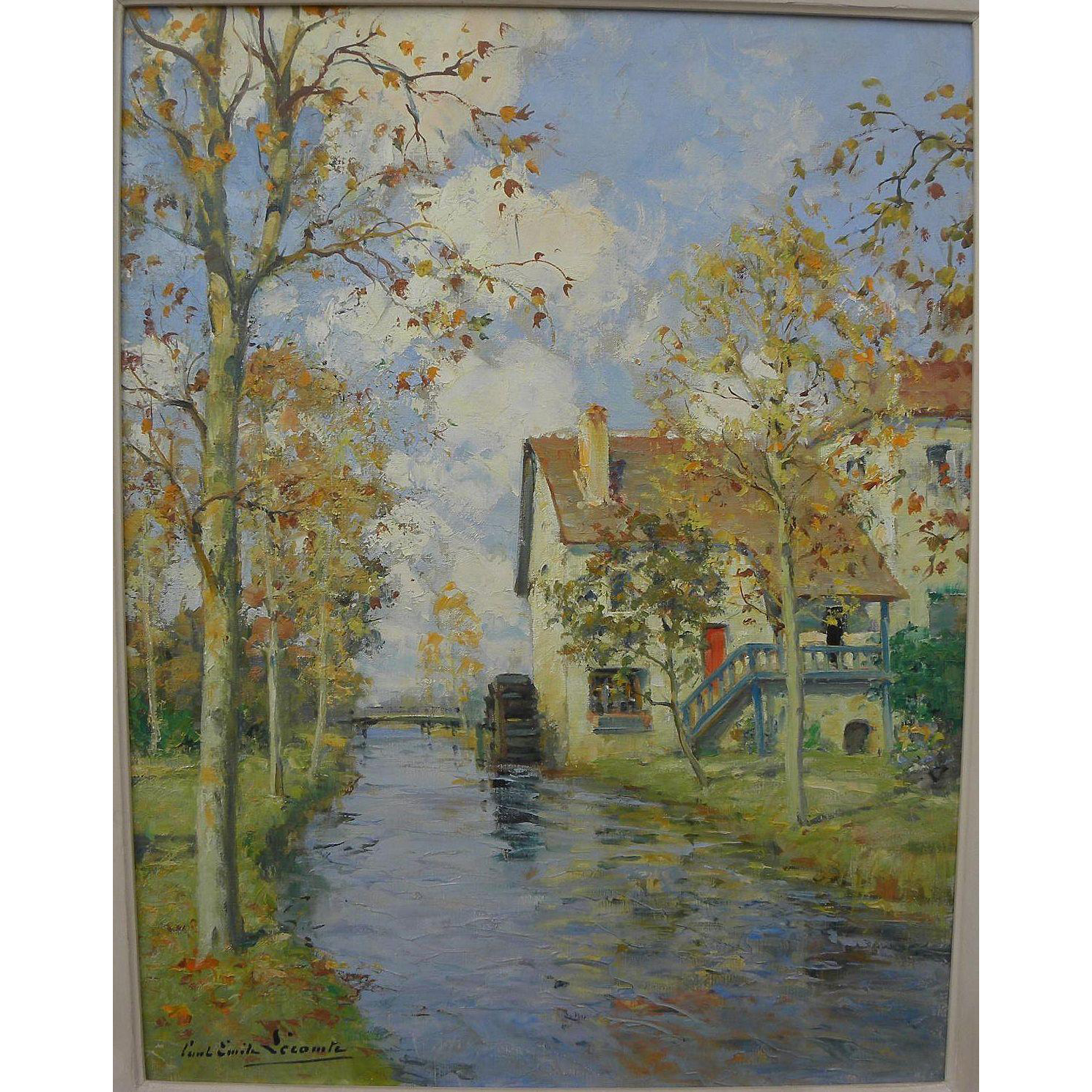 PAUL EMILE LECOMTE (1877-1950) fine impressionist painting of French country scene