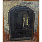 EDUARDO VILLANUEVA 1957 oil painting of shaded corridor in Mexico