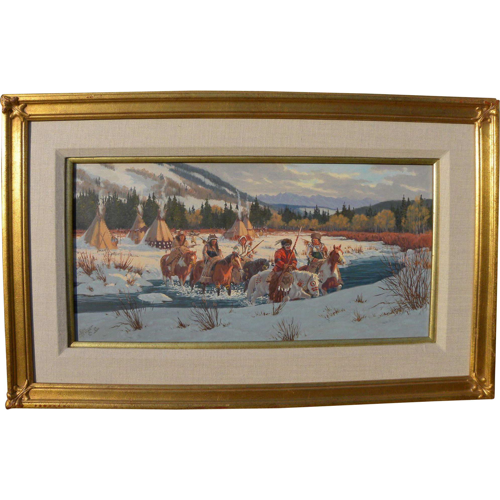 RON STEWART (1941-) oil painting of Blackeet warriors in winter landscape by noted contemporary western artist
