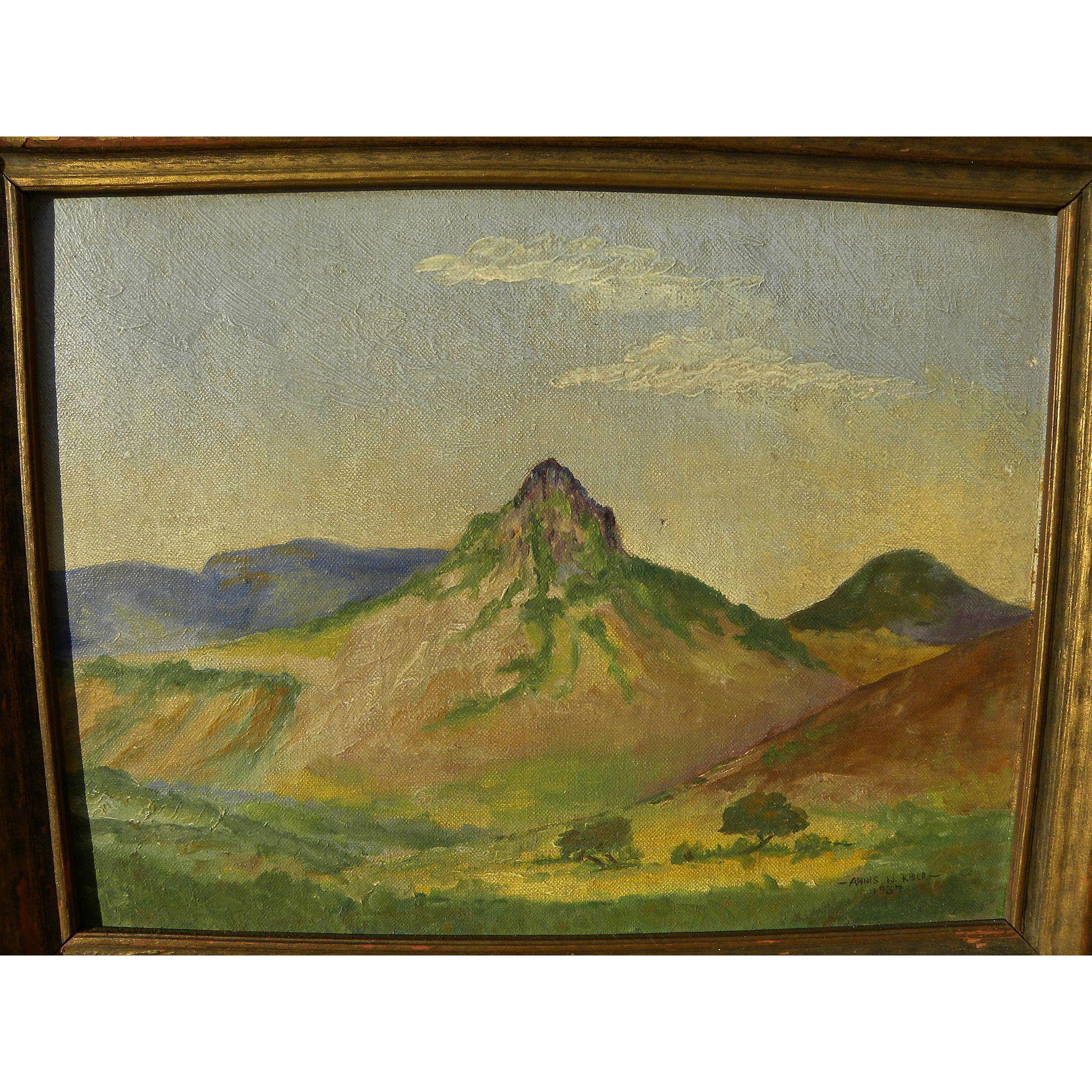 West Texas vintage art 1937 signed painting of Mitre Peak