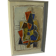 Cubist abstract watercolor unsigned drawing