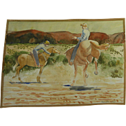 BROOKS PETTUS (1918-2003) Southwest landscape with cowboys watercolor painting dated 1945 by noted artist