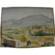 BROOKS PETTUS (1918-2003) Ranchos de Taos New Mexico 1941 landscape watercolor painting by noted artist