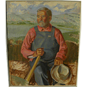 Circa 1950 American painting likely by noted western American artist BROOKS PETTUS (1918-2003)