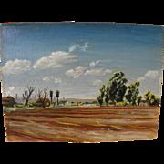 ELNA K. PETTUS (1918-2003) circa 1950's oil painting California landscape with distant oil derricks