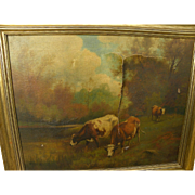 American 19th century Hudson River style signed painting needs restoration