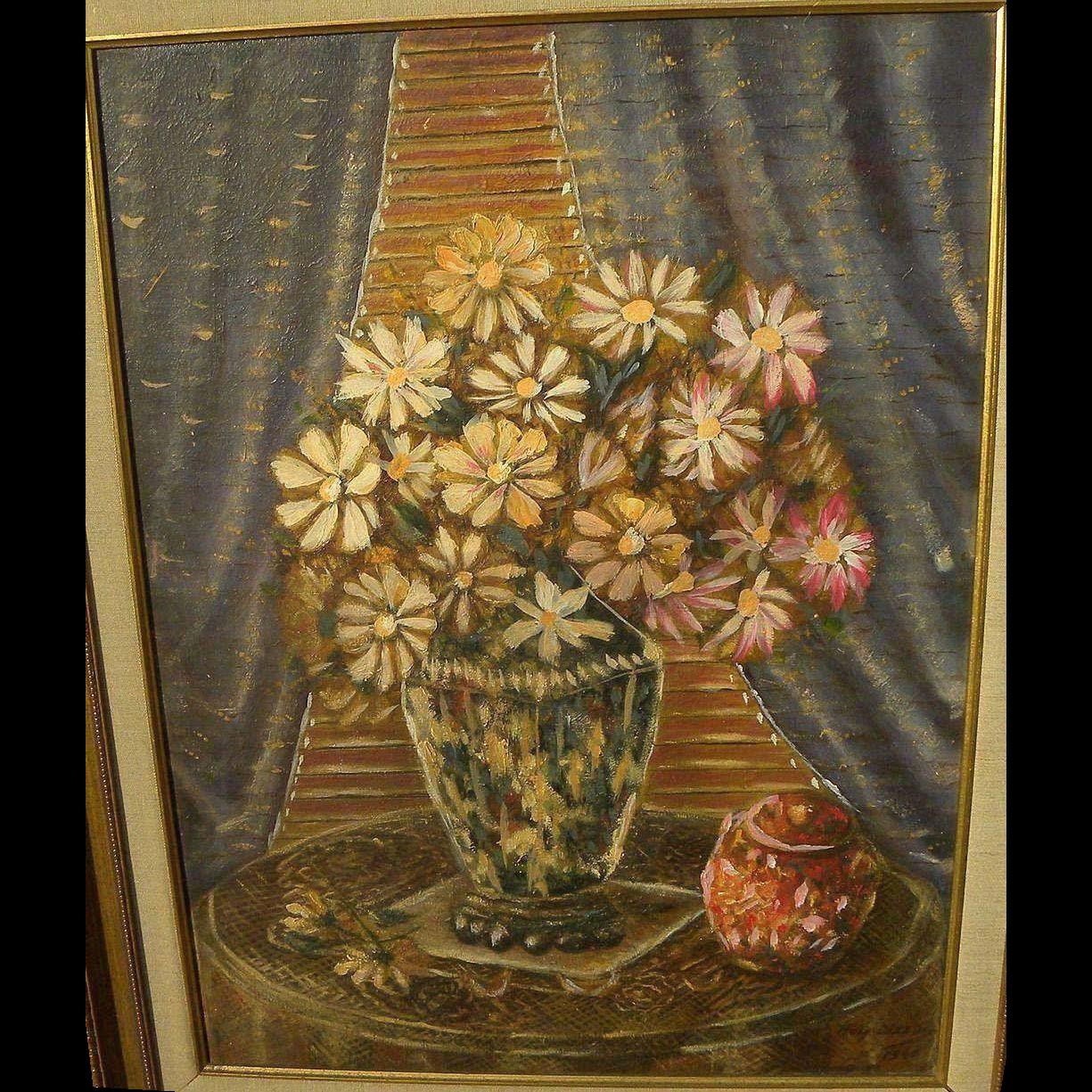 Modernist still life painting dated 1940 signed Haig Altoun