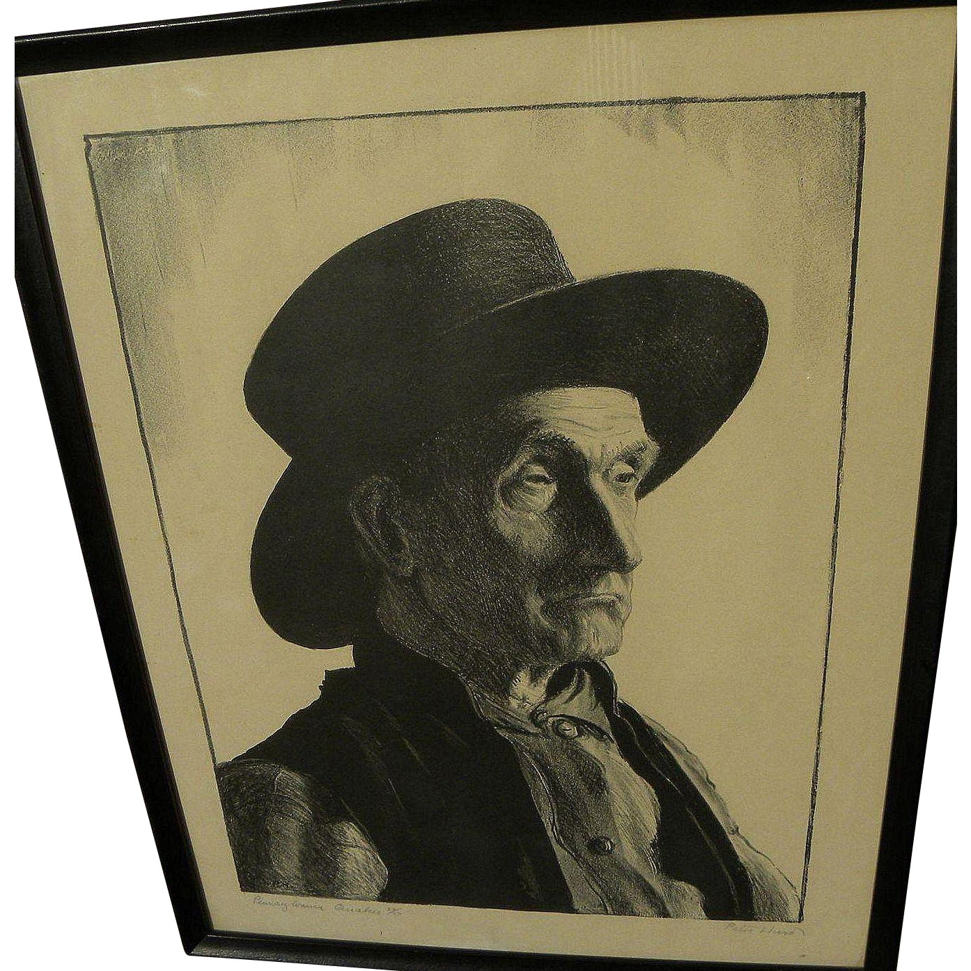 """PETER HURD (1904-1984) pencil signed limited edition 1936 lithograph """"Pennsylvania Quaker"""""""