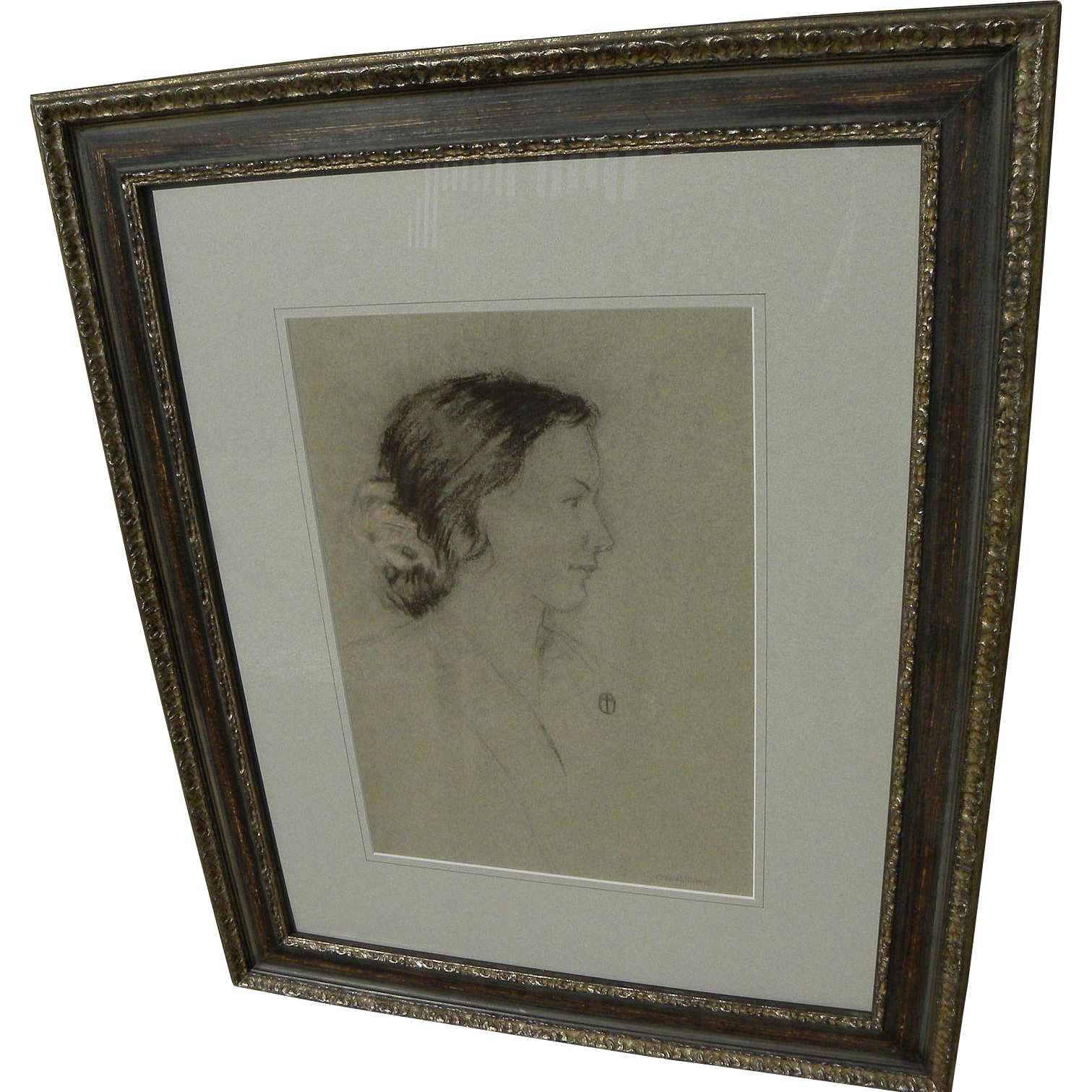 OTIS ALFRED WILLIAMS (1888-1960) charcoal and pastel portrait drawing by noted California Scene artist