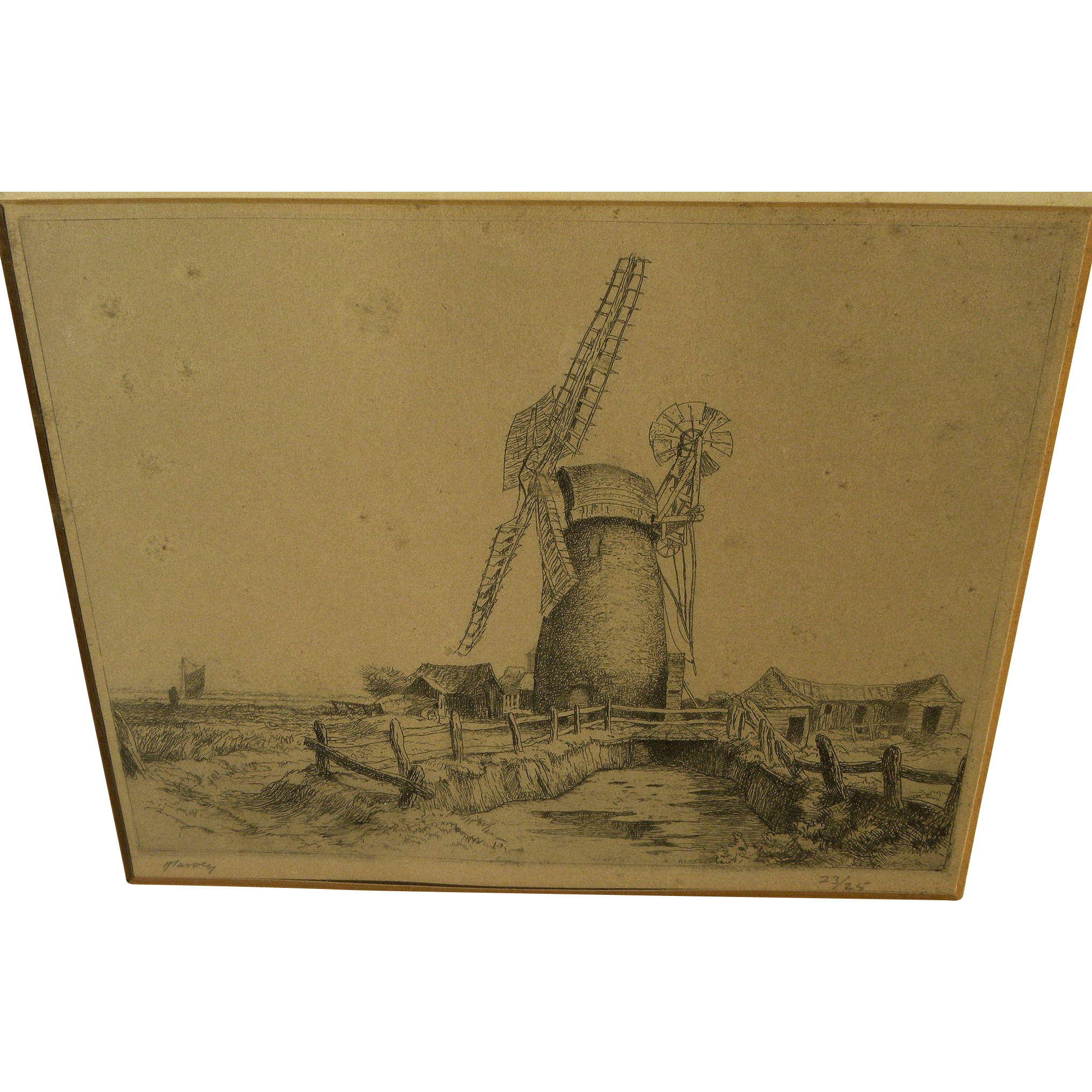 Old limited edition etching of windmill signed J Harvey