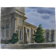BROOKS PETTUS (1918-2003) watercolor painting of historic Santa Fe, New Mexico plaza basilica church by noted western artist