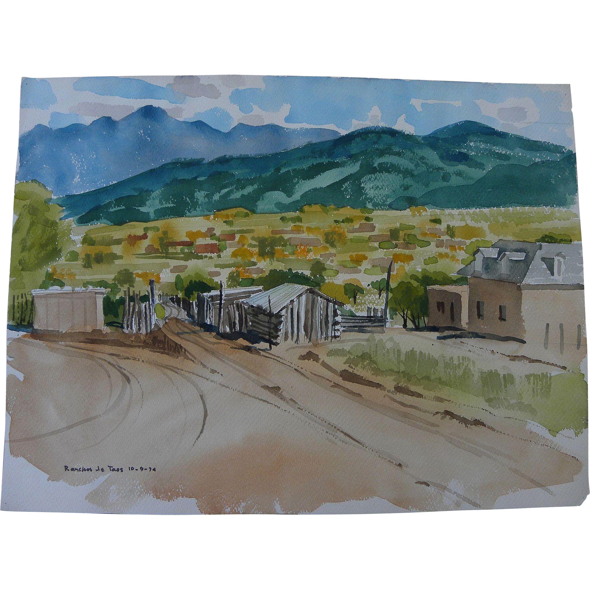 BROOKS PETTUS (1918-2003) Ranchos de Taos New Mexico 1974 landscape watercolor painting by noted artist