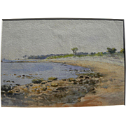 Old American watercolor painting of a small cove and beach