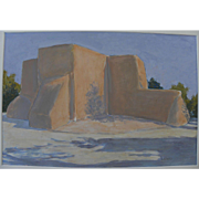 "MARION ""MAL"" LEWIS (1925-2010) painting of famous Taos New Mexico church by Montana artist"