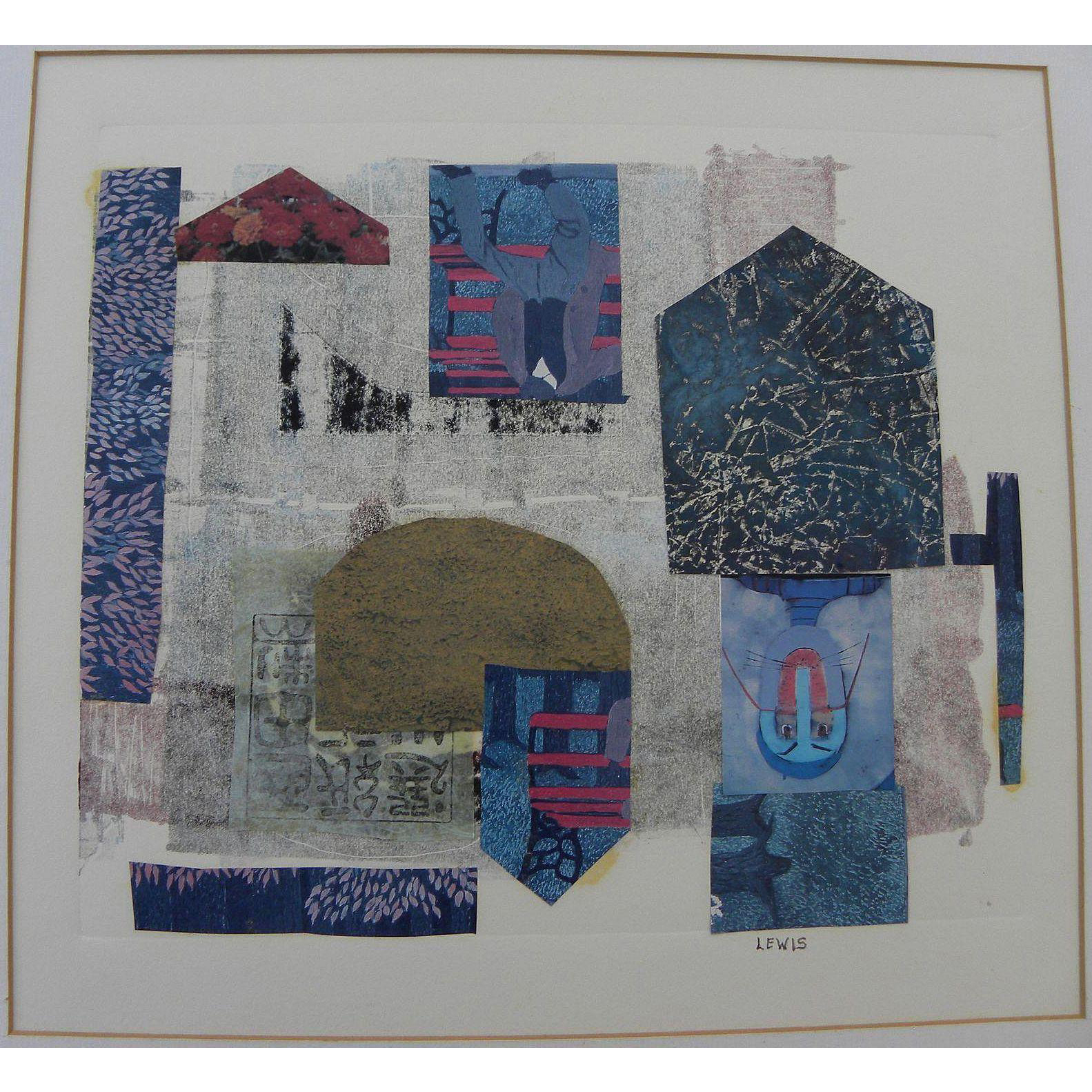 """MARION """"MAL"""" LEWIS (1925-2010) abstract collage art by Montana artist"""
