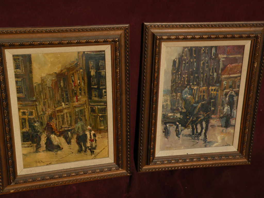 Dutch impressionist art PAIR of paintings after Louis van der Pol