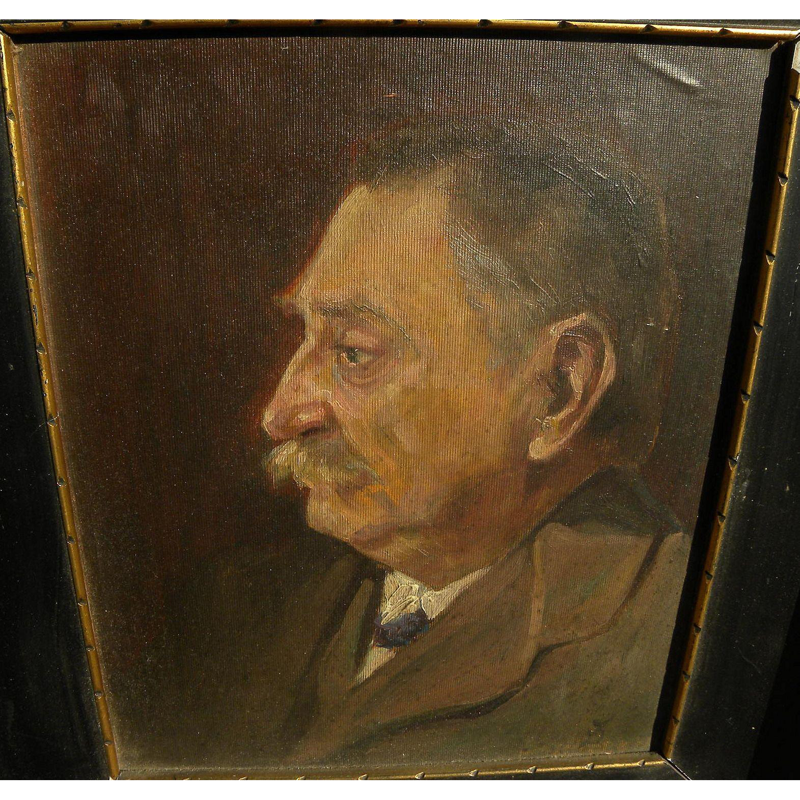 Czech early 20th century portrait painting of a man signed with monogram