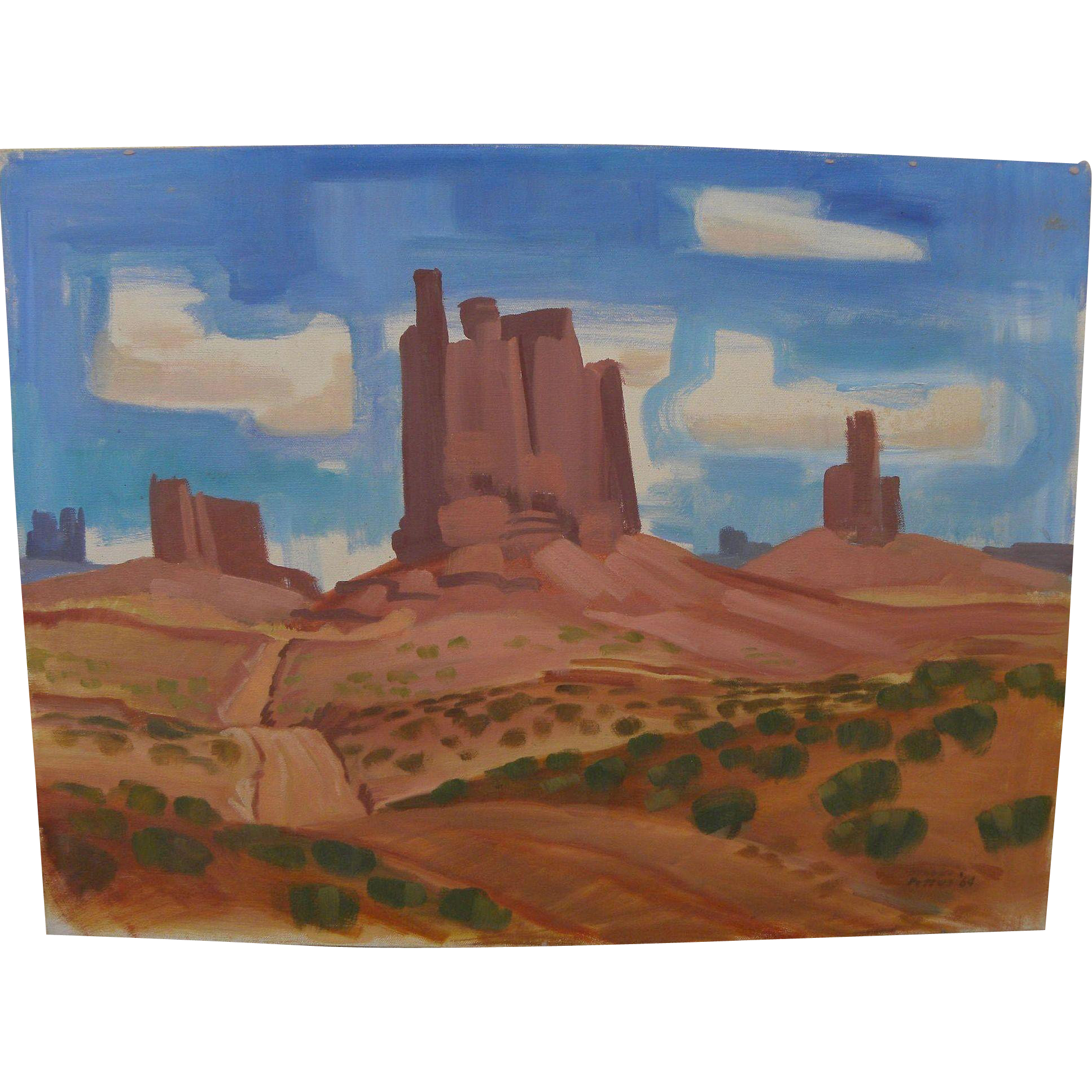 BROOKS PETTUS (1918-2003) Southwest painting Monument Valley Arizona dated 1964 by noted artist