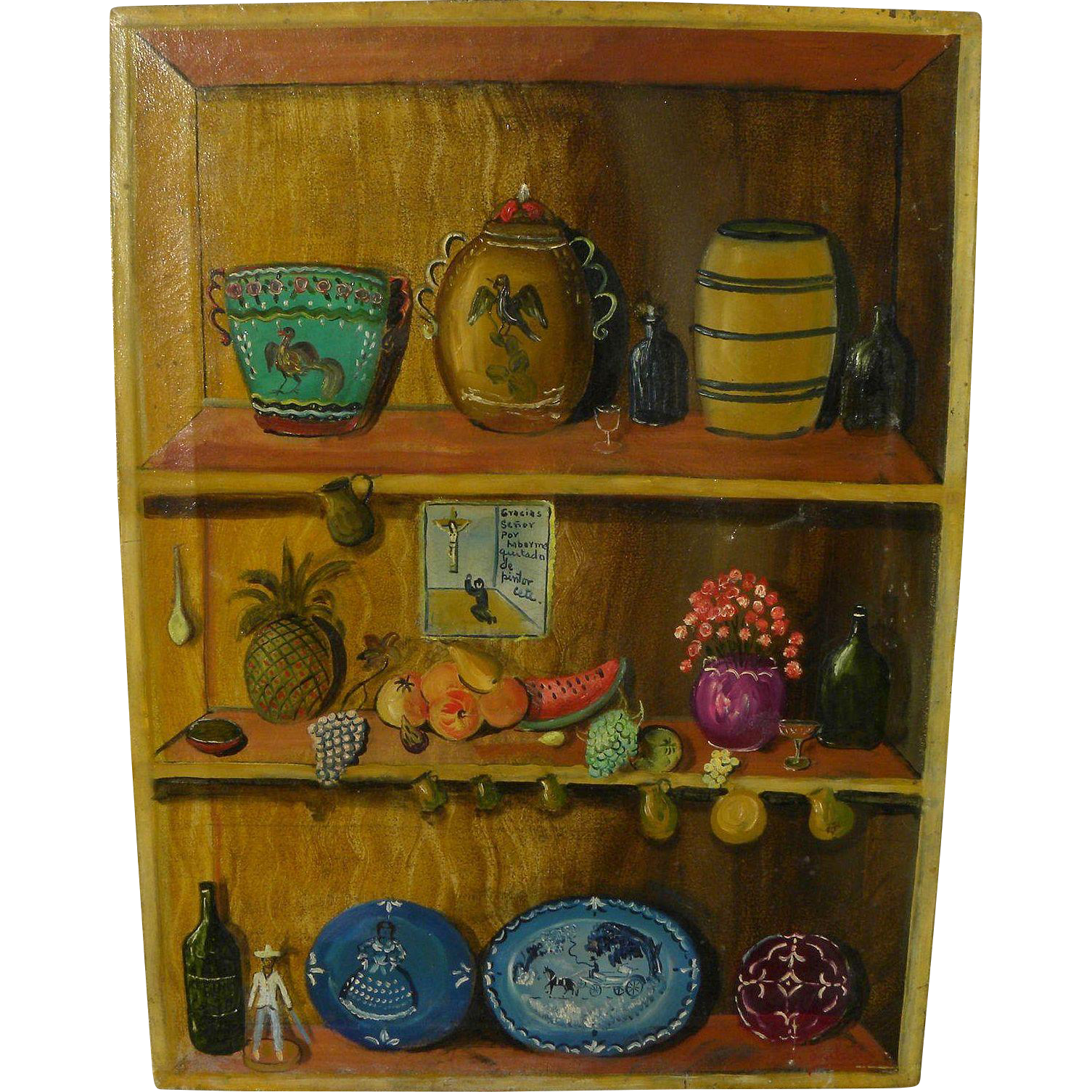 AGAPITO LABIOS (1898-1996) Mexican folk art painting of shelves and household objects