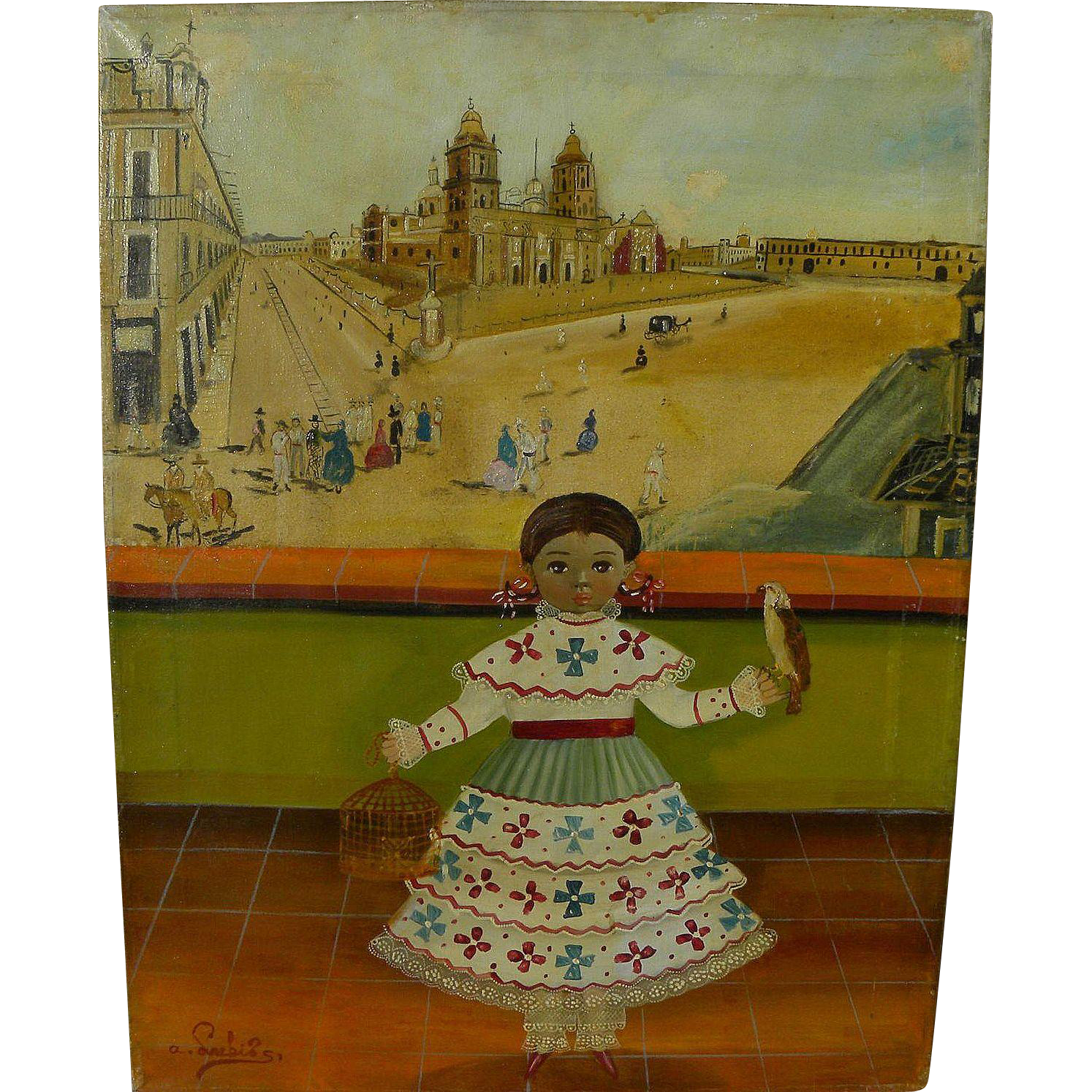 AGAPITO LABIOS (1898-1996) Mexican folk art painting of little girl with distant view of Zocalo in Mexico City