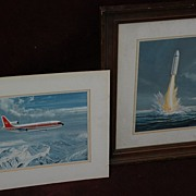 Aviation art PAIR of gouache paintings Lockheed jet and submarine rocket by noted aviation artist C. G. Hodgson